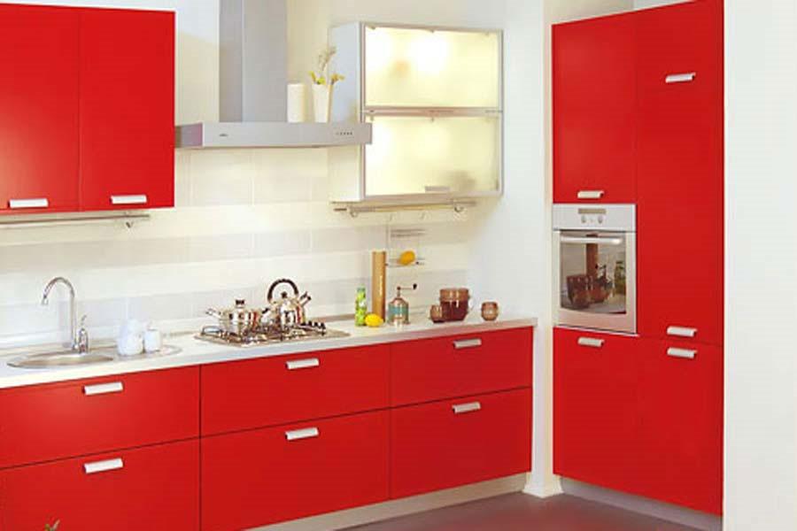 Красная кухня мебель дизайн